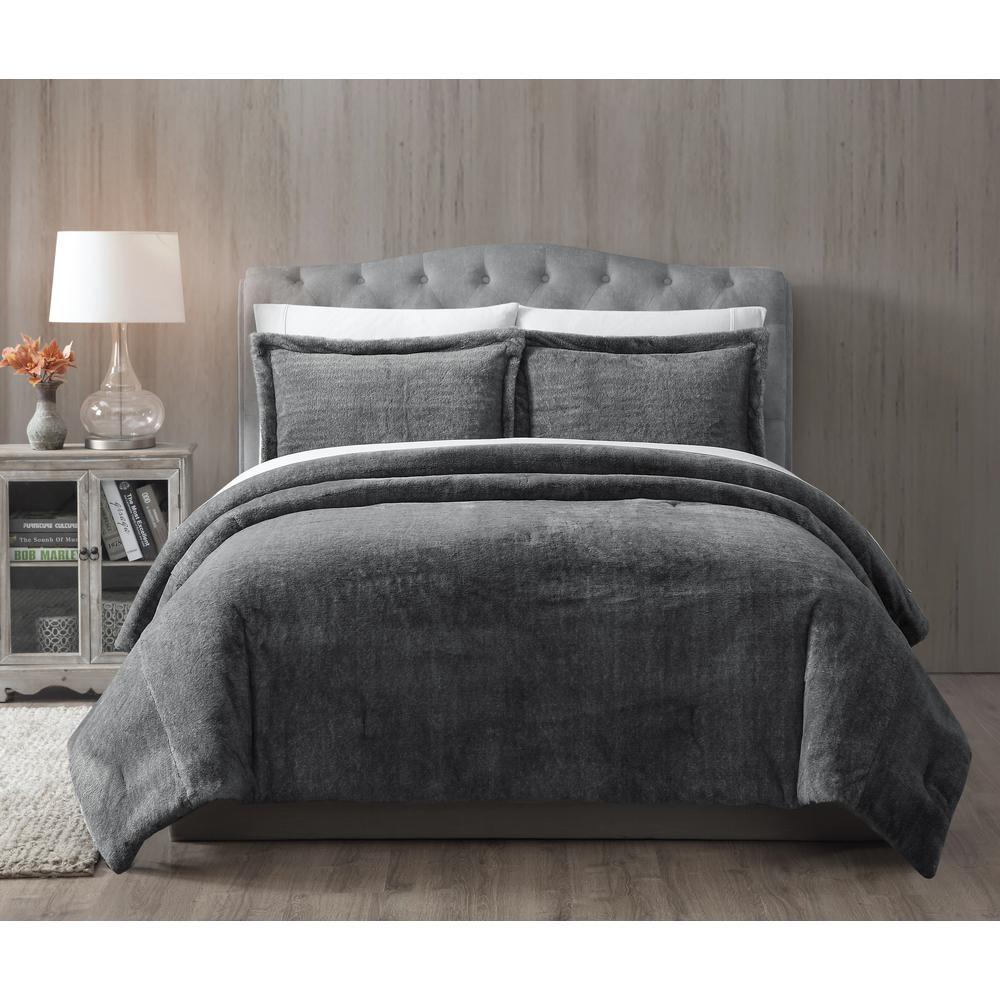 Bell Faux Fur Grey Solid Full/Queen Comforter