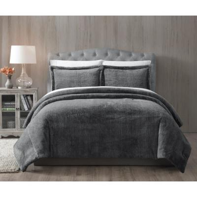 Bell Faux Fur Grey Solid King Comforter