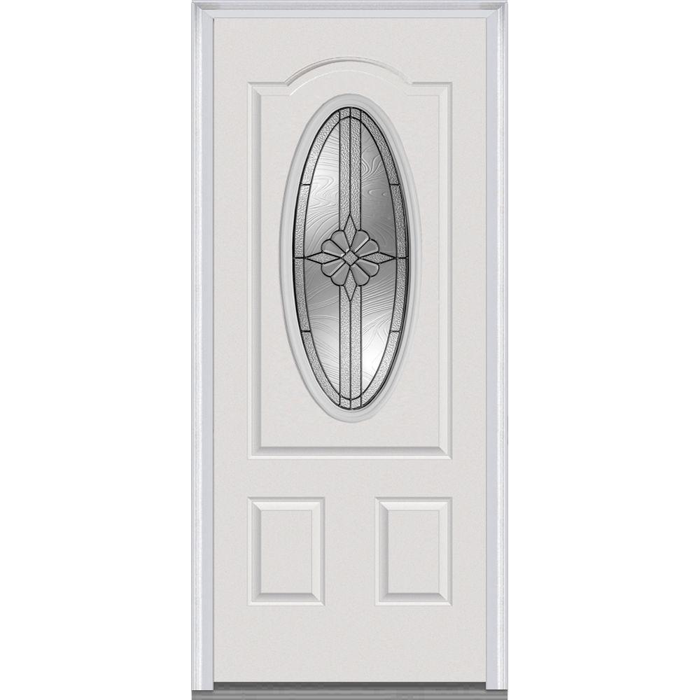 36 in. x 80 in. Dahlia Right-Hand Inswing 3/4 Oval Decorative Primed Steel Prehung Front Door
