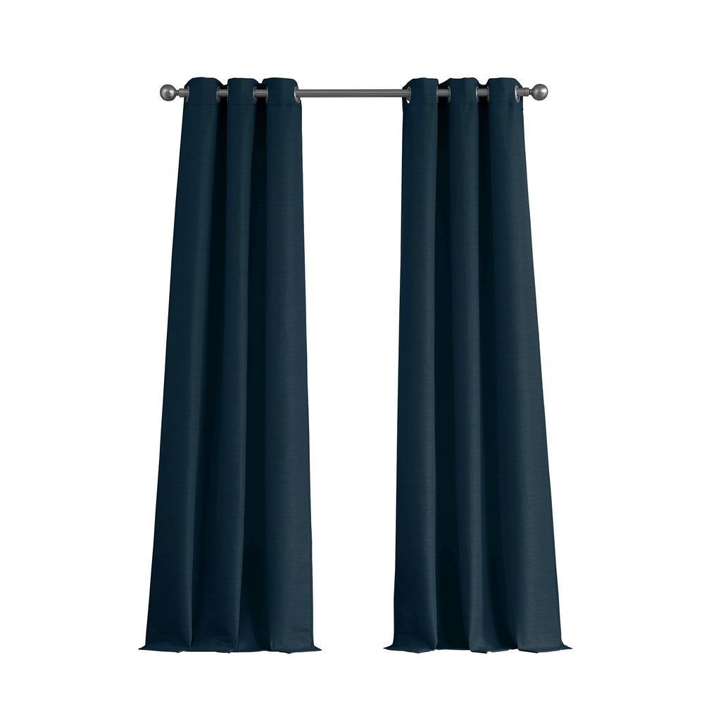 Raw Faux Silk Grommet 76 in. x 84 in. Curtain Panel Pair in Indigo