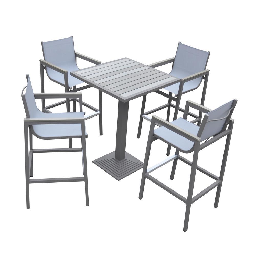 Marina Grey 5-Piece Aluminum Outdoor Bar Height Dining Set