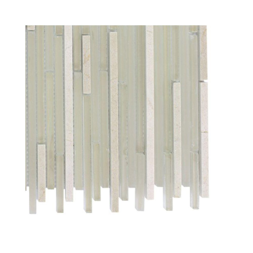 Splashback Tile Tetris Stylus Crema Marble Mosaic Floor and Wall Tile - 3 in. x 6 in. x 8 mm Tile Sample