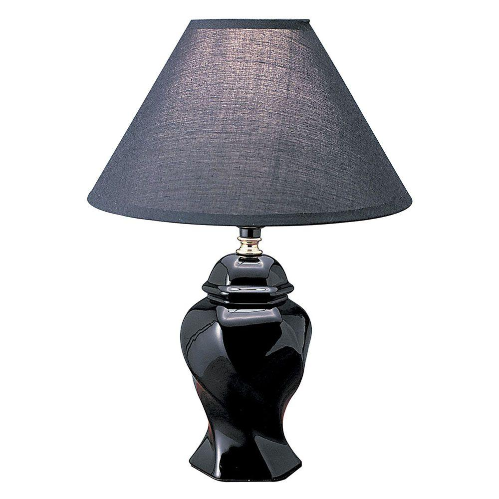 Ore International 13 In Ceramic Black Table Lamp