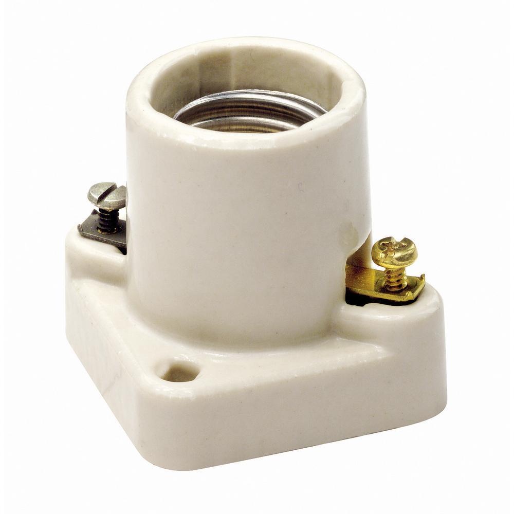 660W Medium Base One-Piece Single Circuit Keyless Pony Cleat Unglazed Porcelain Incandescent Lampholder, White