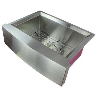Studio Farmhouse/Apron-Front Stainless Steel 30 in. Single Bowl Kitchen Sink in Brushed Finish