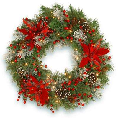 30 in. Battery Operated Decorative Collection Tartan Plaid Wreath with Warm White LED Lights