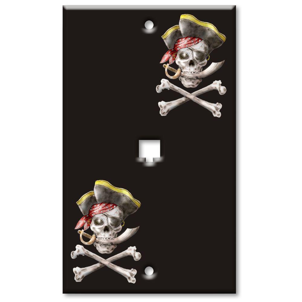 Art Plates Pirate Phone Jack Wall Plate