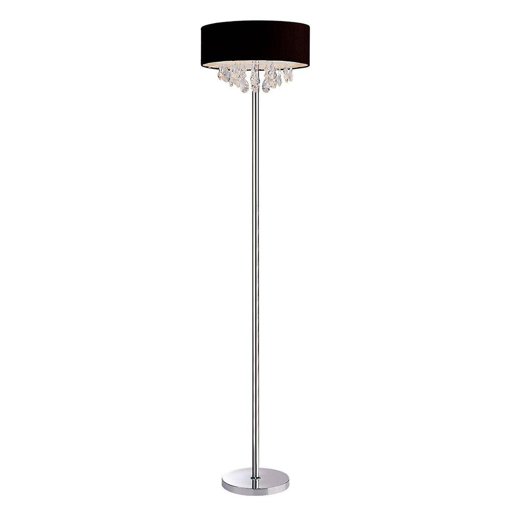 Romazzino Crystal Collection 61.5 in. Chrome Floor Lamp with Black Ruched