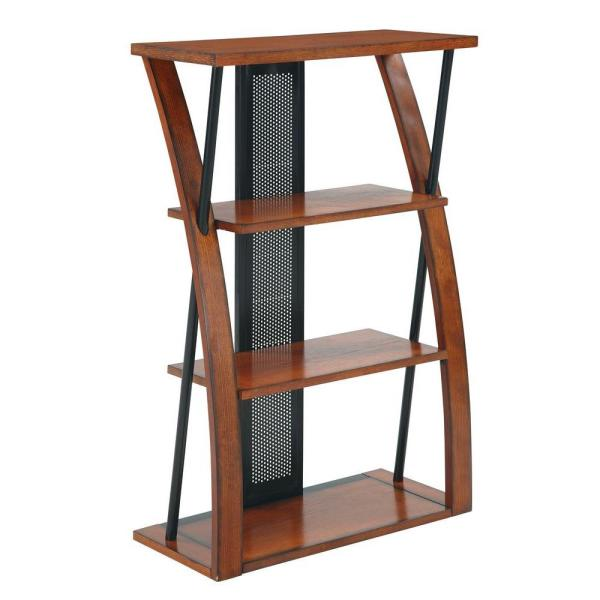 OSP Home Furnishings Aurora Medium Oak and Black Open Bookcase AR27