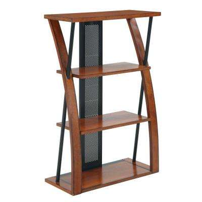 Aurora Medium Oak and Black Open Bookcase