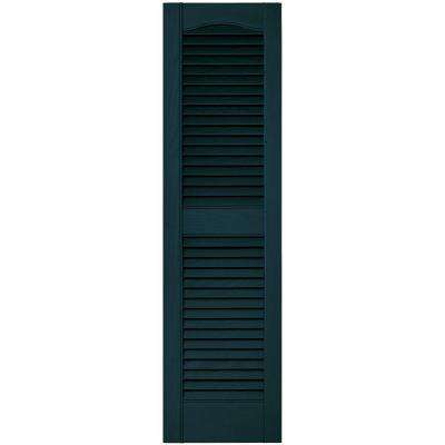 12 in. x 43 in. Louvered Vinyl Exterior Shutters Pair in #166 Midnight Blue