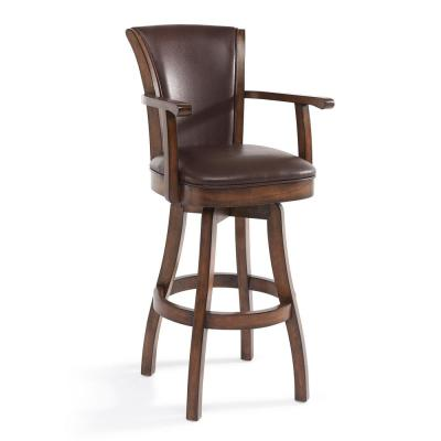 Raleigh 30 in. Kahlua Faux Leather and Chestnut Wood Finish Armed Swivel Bar Stool