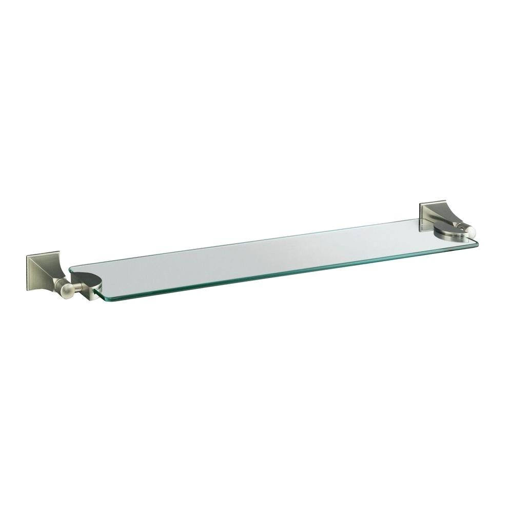 KOHLER Memoirs 5.125 in. W Wall-Mount Shelf in Glass and Vibrant Brushed Nickel