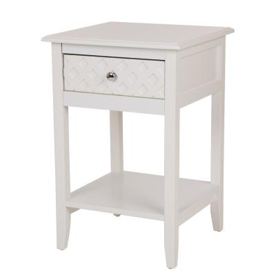 23.5 in. White Wooden End Table with Drawer Night Stand Side Table