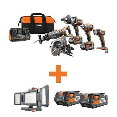 18-Volt Lithium-Ion Cordless 5-Tool Combo w/Bonus Hybrid Folding Panel Light & (2) 4.0Ah Battery Packs