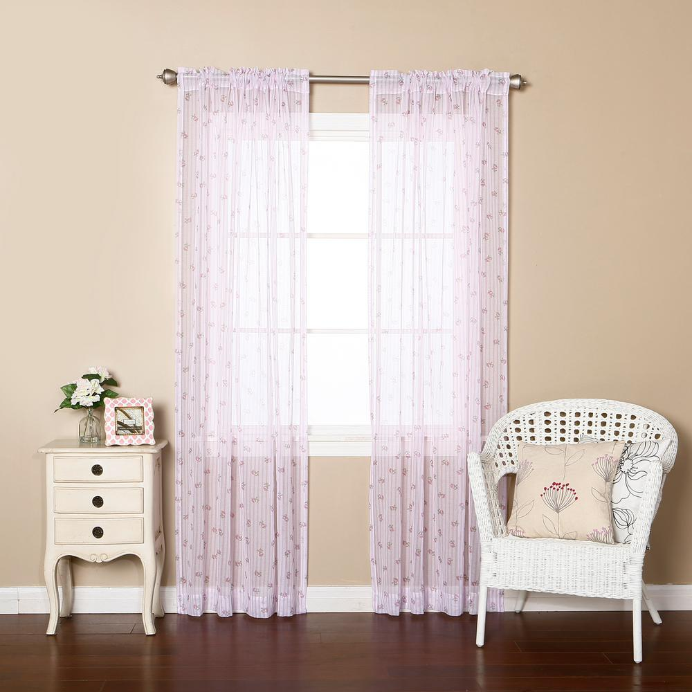 best home fashion sheer floral striped curtains in purple. Black Bedroom Furniture Sets. Home Design Ideas