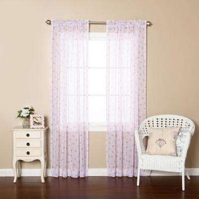 Sheer Floral Striped Curtains in Purple - 84 in. L x 52 in. W (2-Pack)
