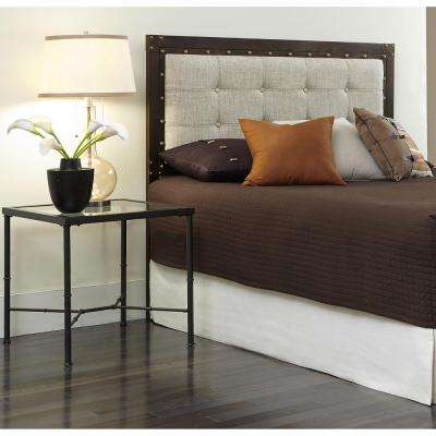 Gotham Queen-Size Metal Headboard with Dark Latte Upholstered Panel and Antique Industrial Studs in Brushed Copper