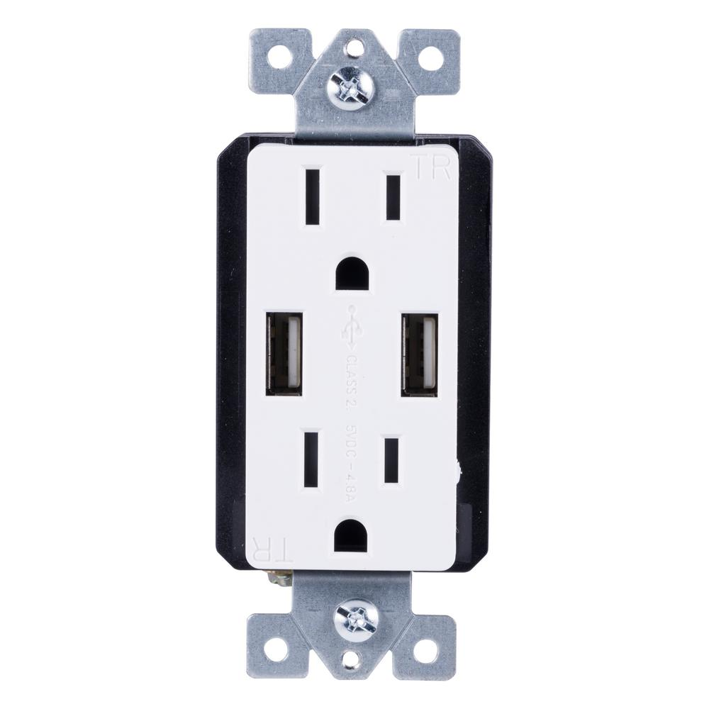 ge ultrapro 2 outlet 2 usb port in wall receptacle white light almond 40405 the home depot. Black Bedroom Furniture Sets. Home Design Ideas
