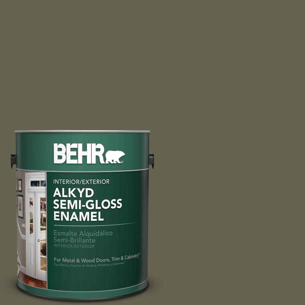 1 gal. #N350-7 Russian Olive Semi-Gloss Enamel Alkyd Interior/Exterior Paint