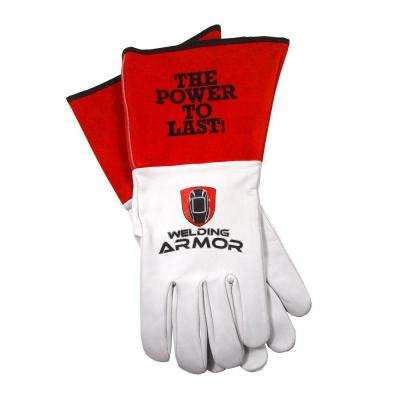Welding Armor Medium Red and White Leather TIG Welding Gloves
