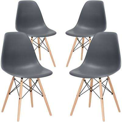 Vortex Grey Side Chair with Natural Legs (Set of 4)