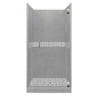 Del Mar Grand Hinged 36 in. x 36 in. x 80 in. Center Drain Alcove Shower Kit in Wet Cement and Satin Nickel Hardware