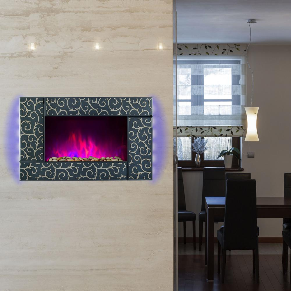 36 in. Wall Mount Electric Fireplace Heater in Green Tempered Glass
