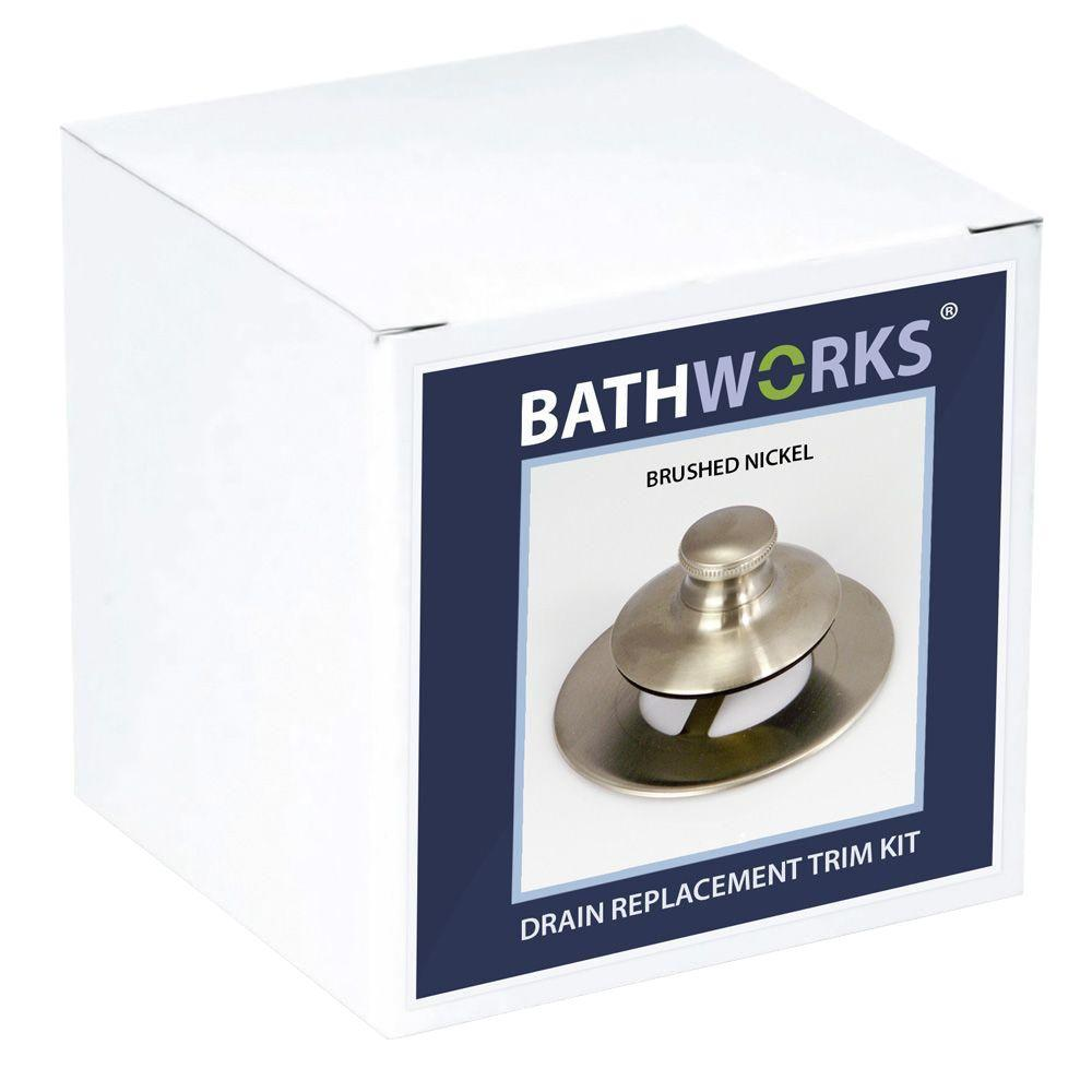 BATHWORKS 4 in. x 4 in. x 4 in. Nickel DIY Easy Bathtub Drain and Overflow Trim Kit
