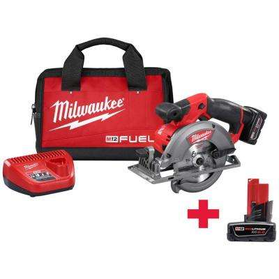 M12 FUEL 12-Volt Lithium-Ion Brushless Cordless 5-3/8 in. Circular Saw Kit W/ Free M12 6.0Ah Battery