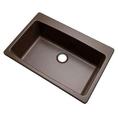 Rockland Dual Mount Composite Granite 33 in. 0-Hole Single Bowl Kitchen Sink in Mocha