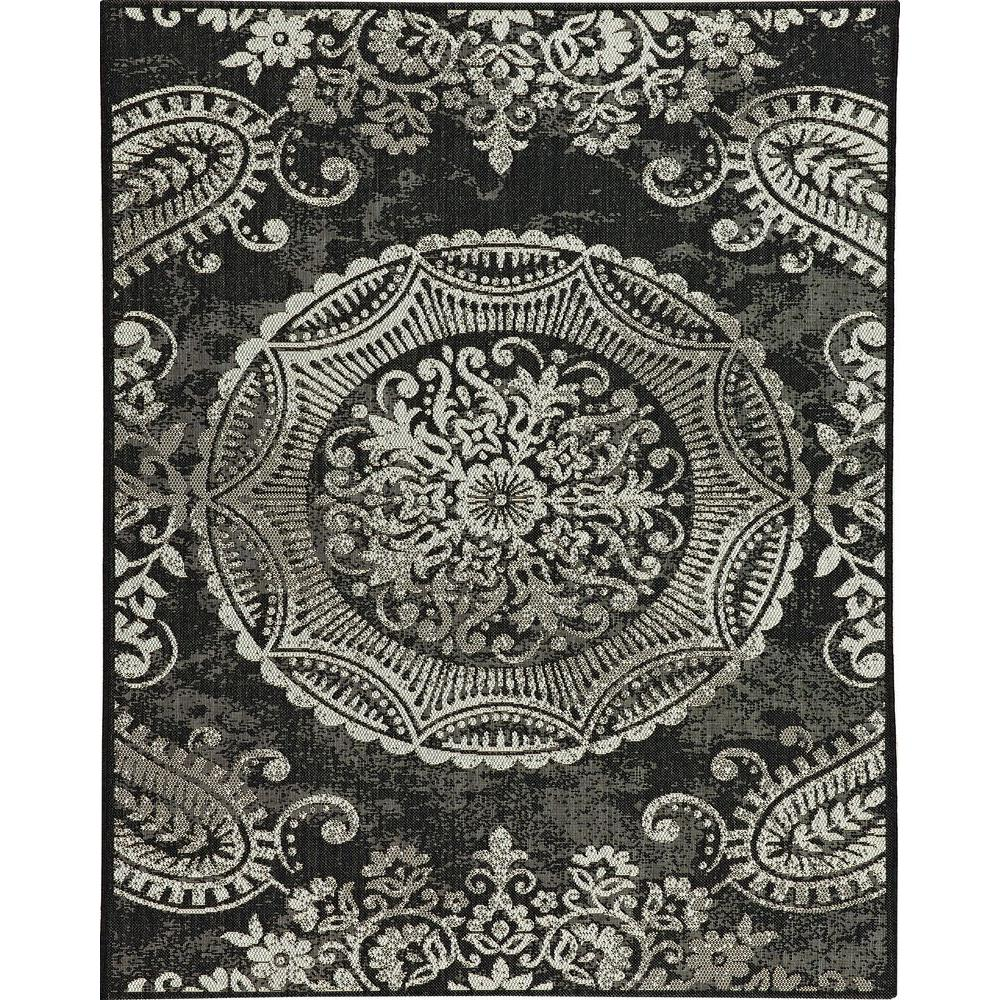 Indoor Outdoor Rugs Home Depot: Balta US Georgiana Black 8 Ft. X 10 Ft. Indoor/Outdoor