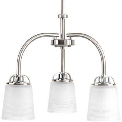 West Village Collection 3-lightBrushed Nickel Chandelier with Etched Glass Shade