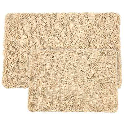 Shag Ivory 21 in. x 32 in. Memory Foam 2-Piece Bath Mat Set