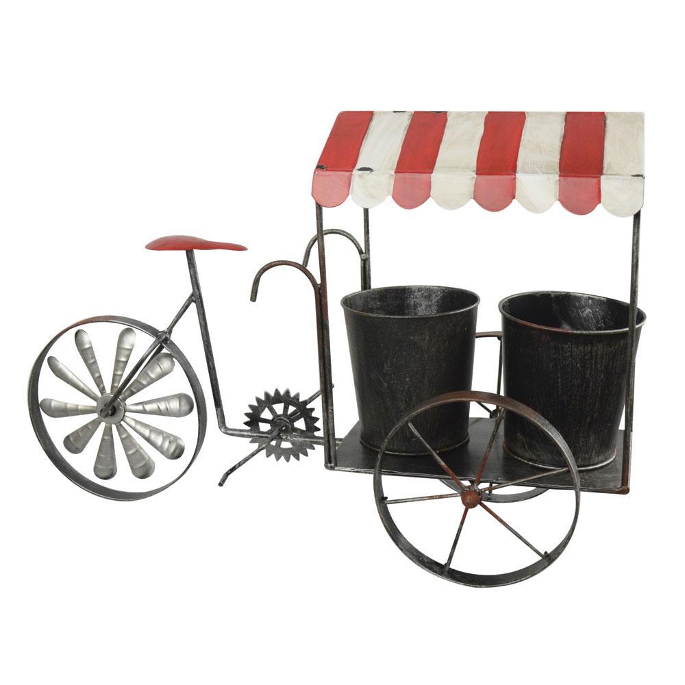 Metal Planter Bicycle spinning Wheel Red/White
