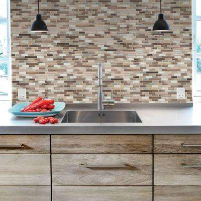 Muretto Durango 10.20 in. W x 9.10 in. H Peel and Stick Self-Adhesive Decorative Mosaic Wall Tile Backsplash (12-Pack)