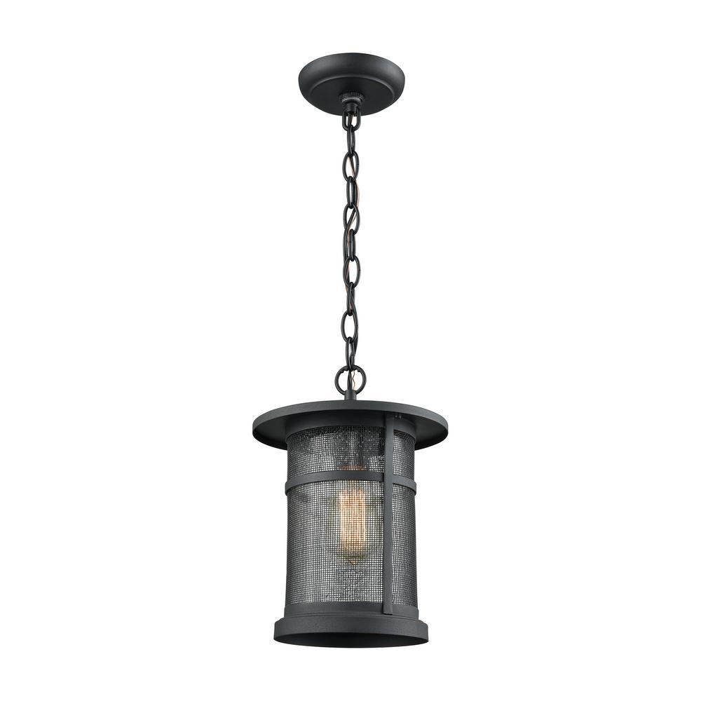 Aspen Lodge Matte-Black 1-Light Outdoor Hanging Pendant