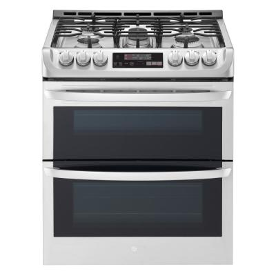6.9 cu. ft. Smart Double Oven Slide In Gas Range with ProBake Convection and Wi-Fi in Stainless Steel