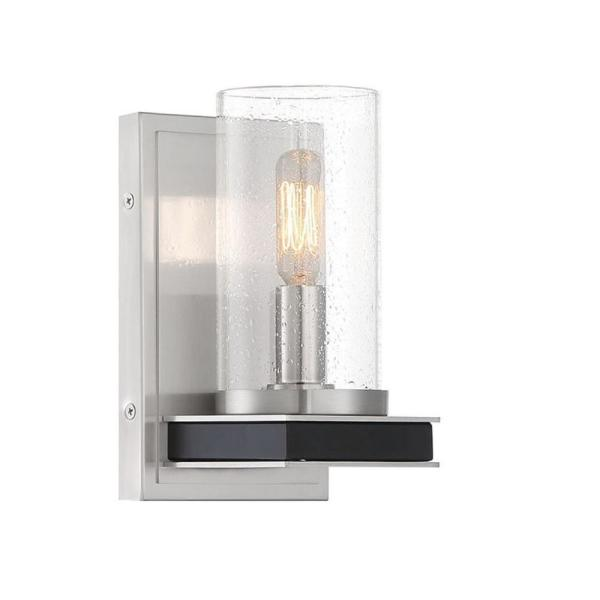Cole's Crossing 1-Light Coal with Brushed Nickel Wall Sconce