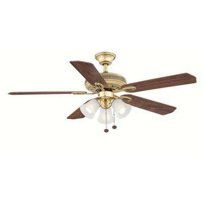 Glendale 52 in. Indoor Flemish Brass Ceiling Fan with Light Kit