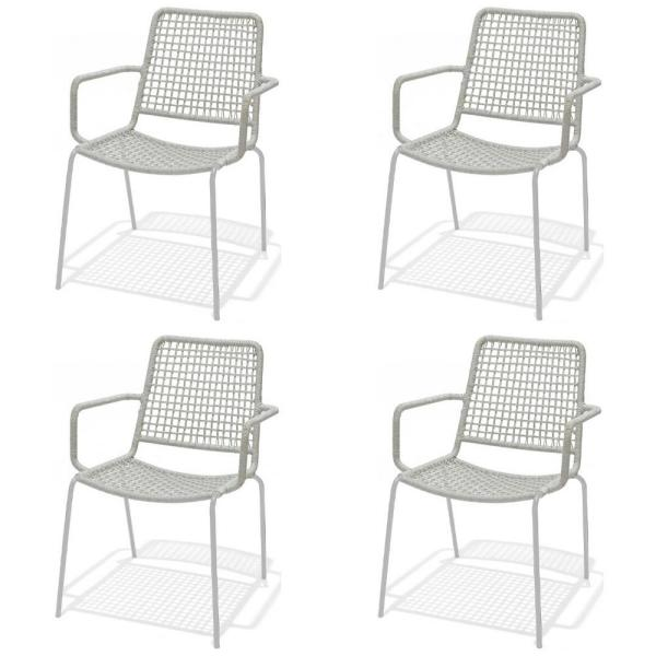 Danube Gray Stacking Metal Outdoor Dining Chair (4-Pack)