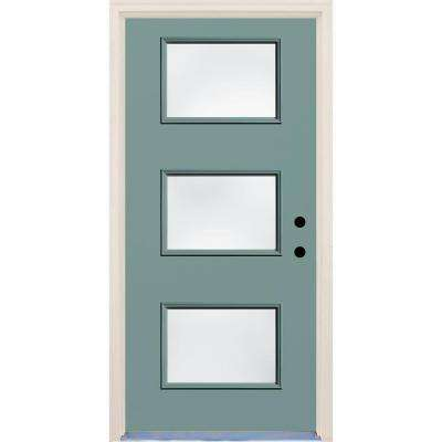 36 in. x 80 in. Surf Left-Hand 3 Lite Clear Glass Painted Fiberglass Blue Prehung Front Door with Brickmould