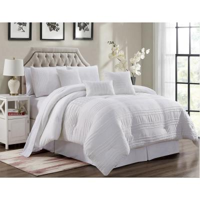 MHF Home Victoria 7-Piece White Pleated Queen Comforter Set