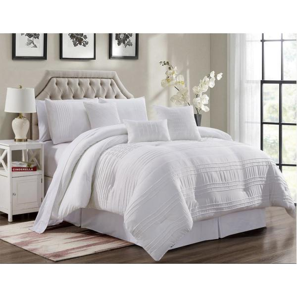 Morgan Home MHF Home Victoria 7-Piece White Pleated Queen Comforter Set
