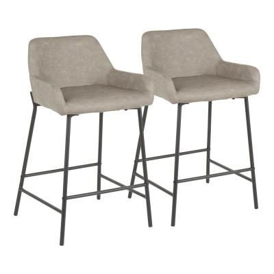 Daniella 24 in. Grey Faux Leather Industrial Counter Stool (Set of 2)