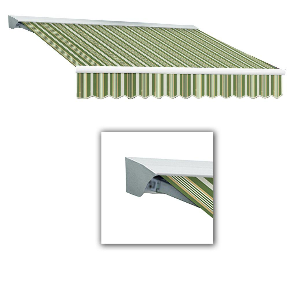 AWNTECH Destin with Hood Left Motor with Remote Retractable Awning Acrylic (12 ft. W x 10 ft. D) in Color Forest/Gray Multi
