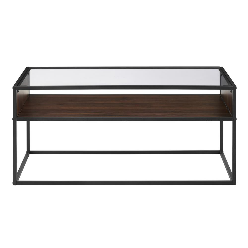 Glass And Metal Coffee Table With Shelf: Walker Edison Furniture Company 40 In. Dark Walnut Metal