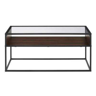 40 in. Dark Walnut Metal and Glass Coffee Table with Open Shelf