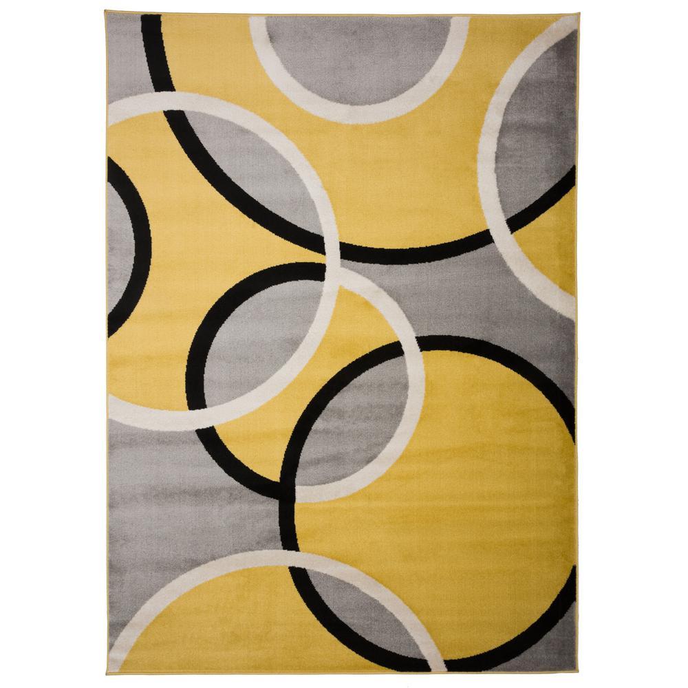 "Contemporary Abstract Circles Area Rug 3'3"" x 5' Yellow"