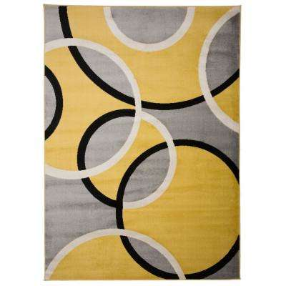 "Contemporary Abstract Circles Area Rug 7' 10"" x 10'2"" Yellow"